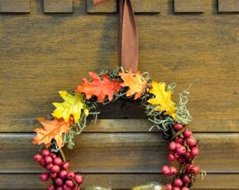Mirkwood Ringwreath: Tolkien/Hobbit Inspired Wreath Featuring Wool Mushrooms, Leaves, Moss, and Spiders