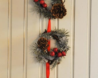Christmas Ornament or Decoration: Three 2-Inch Grapvine Wreaths With Faux Frosted Pine, Pine Cones, and Red Berries with Red & Green Ribbon
