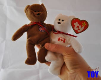 Maple and Britannia the Geographic Country Bears: Vintage 1993 Ty Teenie Beanies, Available Individually or as a Set