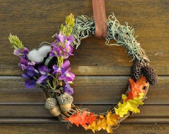 Beorn's Garden Ringwreath Featuring Lupines, Oak Leaves, Moss, Acorns, Pinecones, & a Wool Bee