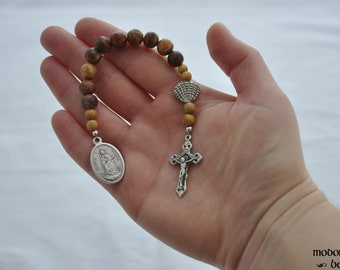 One-Decade Stella Maris (Star of the Sea) Rosary with Sea Urchin Spine Beads, Jackfruit Wood Spacers, and Pewter Seashell Our Father Bead