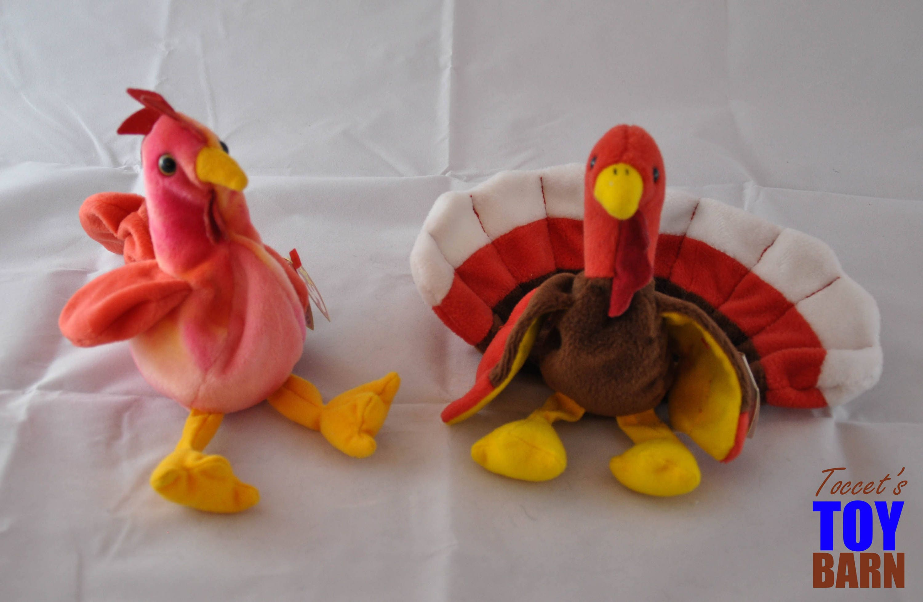 61216269690 Vintage 1996 Ty Beanie Baby Birds  Strut the Rooster and Gobbles ...