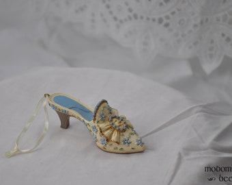 Beautiful Blue & White Victorian Dress Shoe Ornament