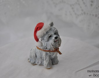 Christmas Terrier Dog Figurine with Santa Hat and Red & Green Ribbon Collar