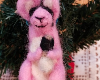 Unique & Adorable Pink Battery Bunny Rabbit Wearing Sunglasses Needle Felted Wool Christmas Ornament with a Teal Hanging Ribbon