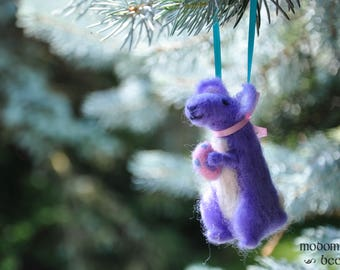 Unique Easter Bunny Kangaroo Needle Felted Wool Christmas Ornament: Purple Animal with a Pink Necktie Holding a Polka Dot Easter Egg