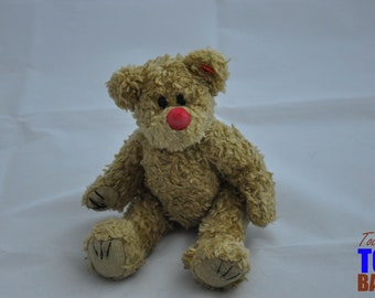 Vintage 1993 Beige Ty Teddy Bear with Red Nose and Movable Arm & Legs