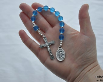 St. Michael/Guardian Angel One-Decade Rosary With Blue Seaglass Beads