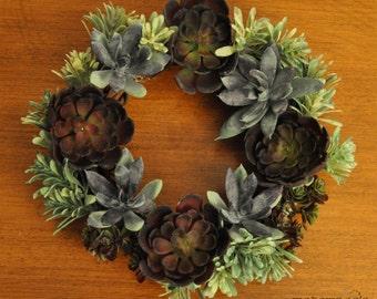 Six Inch Symmetrical Succulents Wreath: Great For Any Season