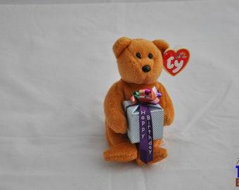 2004 Happy Birthday Bear Ty Teenie Beanie Ornament