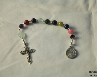 Mixed Gemstone One-Decade Rosary With Fleur-de-Lis Crucifix and Floral Miraculous Medal