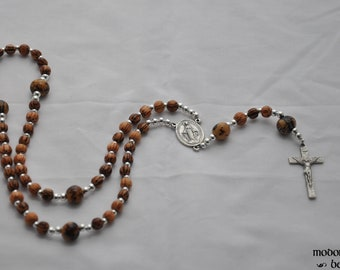Palm Wood and Acai Nut Rosary With Miraculous Medal Center and Pewter Crucifix