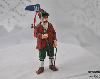 Scottish Golfer Christmas Ornament with Plaid Coat, Golf Clubs, and Flag
