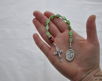 St. Francis/St. Anthony One-Decade Kids' Rosary With Glass Ladybug Our Father Bead and Green Leaf Beads