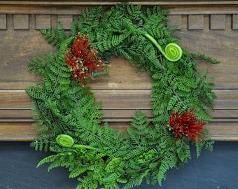 Christmas Wreath: New Zealand Christmas Wreath with Pohutukawa Flower and Silver Fern Koru