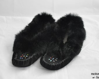 Handmade Ladies Black Leather Moccasins Trimmed in Rabbit Fur and Hand-Beaded Design