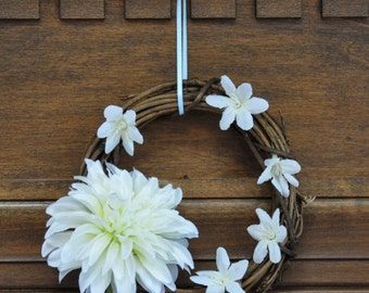 White Flowers White Tree of Gondor Tolkien Wreath Variant with Pale Blue Ribbon