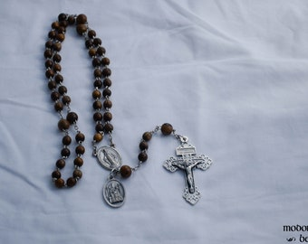 Unique Handmade Robles Wood Bead and Chain Rosary With a Miraculous Medal Centerpiece, Pardon Crucifix, and an Our Lady of Walsingham Medal