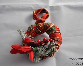 Christmas Ornament or Wreath: 3-Inch Grapevine Frame Covered in Red Plaid Ribbon with Red Berries, Frosted Pine, & Red Flowers