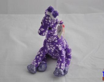 Sunnie the Giraffe 2006 Ty Beanie Baby - Purple With Hibsicuses