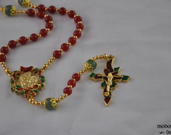 Christmas Rosary with Carnelian and Aventurine Beads, Poinsettia Crucifix, and Madonna and Child Holly Wreath Centerpiece
