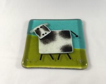 Glass cow coaster