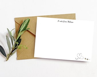 Personalised Notecard Set of 10   Bee Heart   Free UK Delivery