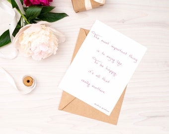 The Most Important Thing Is To Enjoy Life Folded Greetings Card with Kraft Envelope   Audrey Hepburn   Free UK Delivery