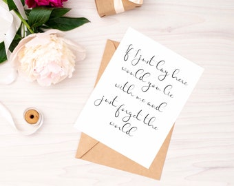 If I Lay Here   Snow Patrol Lyric Card   Folded Greetings Card with Kraft Envelope   Romantic Card   Free UK Delivery