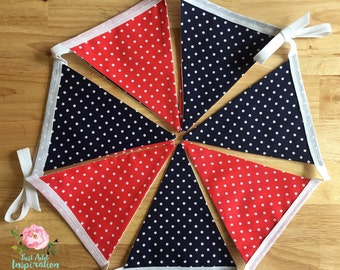 Navy and Red Spot Bunting