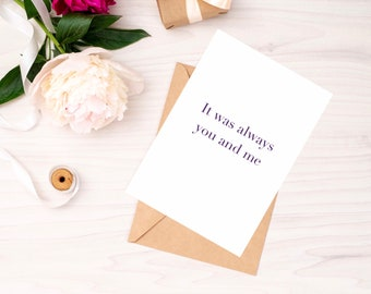It Was Always You And Me Folded Greetings Card with Kraft Envelope   Romantic Card   Free UK Delivery