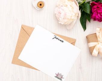 Personalised Notecard Set of 10   Lotus Flower   Free UK Delivery