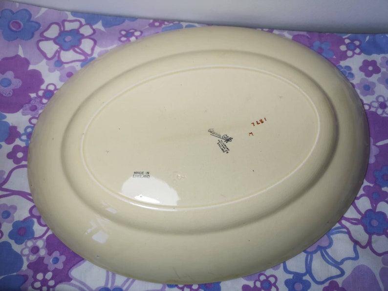 Early Clarice cliff bizarre handpainted meat plate 1930s hand painted clarice cliff newport pottery large oval plate Vtg. serving platter