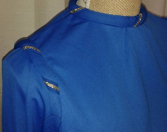 Simple but very 1980s blue dress