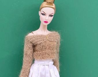 "Handmade by Jiu 038 - Beige Sweater For 12"" Dolls Like Fashion Royalty FR Poppy Parker PP Nu Face NF Barbie"
