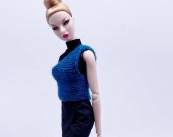 "Handmade by Jiu 047 - Dark Blue Knitting Sweater Vest For 12"" Dolls Like Fashion Royalty FR Poppy Parker PP Nu Face NF Barbie"