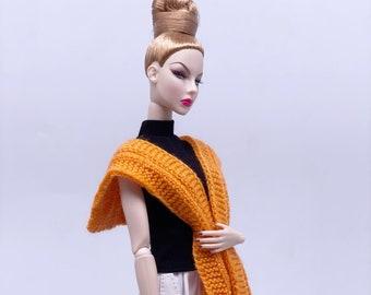 "Handmade by Jiu 044 - Orange Knitting Cape Scarf  For 12"" Dolls Like Fashion Royalty FR Poppy Parker PP Nu Face NF Barbie"