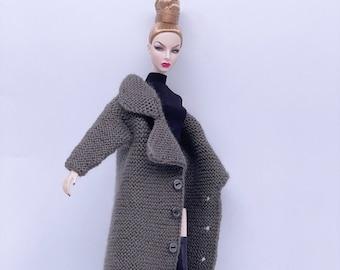 "Handmade by Jiu 046 - Brown Knitting Coat For 12"" Dolls Like Fashion Royalty FR Poppy Parker PP Nu Face NF Barbie"