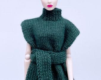 "Handmade by Jiu 039 - Dark Green Knitting Sweater Dress For 12"" Dolls Like Fashion Royalty FR Poppy Parker PP Nu Face NF Barbie"