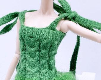 "Handmade by Jiu 043 - Green Cute Knitting Long Dress For 12"" Dolls Like Fashion Royalty FR Poppy Parker PP Nu Face NF Barbie"