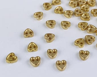B030A Gold 4mm Heart Buttons Micro Mini Buttons Tiny Buttons Doll Buttons Doll Sewing Craft Supplies