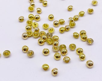MINIATURE FLAT BACK BLUE PEARL BUTTONS~GOLD SETTING~4.MM~SET 5~DOLL CLOTHES