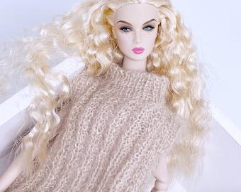 "Handmade by Jiu 040 - Beige Knitting Vest For 12"" Dolls Like Fashion Royalty FR Poppy Parker PP Nu Face NF Barbie"