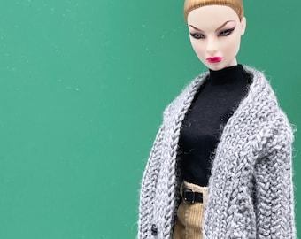 "Handmade by Jiu 037 - Gray Knitting Coat For 12"" Dolls Like Fashion Royalty FR Poppy Parker PP Nu Face NF Barbie"