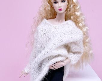 "Handmade by Jiu 041 - White Oversize Knitting V-neck Sweater For 12"" Dolls Like Fashion Royalty FR Poppy Parker PP Nu Face NF Barbie"