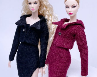 """Handmade by Jiu 042 - Knitting Suit For 12"""" Dolls Like Fashion Royalty FR Poppy Parker PP Nu Face NF Barbie"""