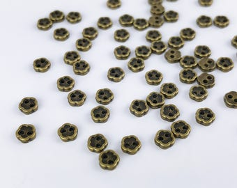 B007A Old Metal Color 4mm Micro Mini Buttons Flower Buttons Tiny Buttons Doll Sewing Craft Supplies