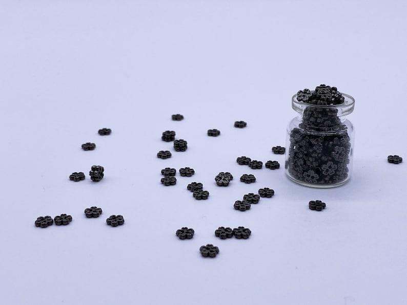 B078A Dark Gun Color 5mm Flower Buttons Micro Mini Buttons Tiny Buttons Doll Buttons Doll Sewing Craft Supplies