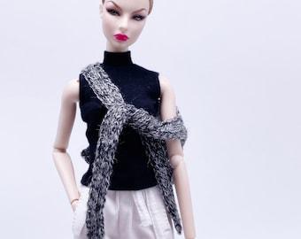 "Handmade by Jiu 046 - Heather Gray Knitting Cape Scarf  For 12"" Dolls Like Fashion Royalty FR Poppy Parker PP Nu Face NF Barbie"