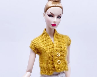 """Handmade by Jiu 043 - Dark Yellow Knitting Button Front Vest For 12"""" Dolls Like Fashion Royalty FR Poppy Parker PP Nu Face NF Barbie"""